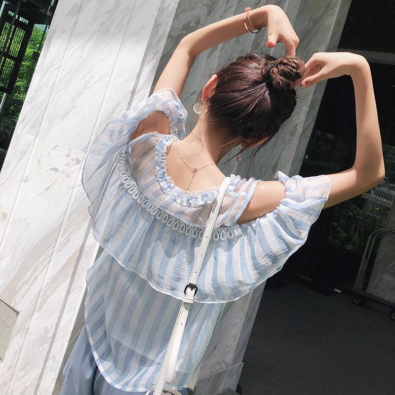 谜秀雪纺衫女短袖2018夏装新款宽松露肩超仙甜美上衣条纹小衫夏潮
