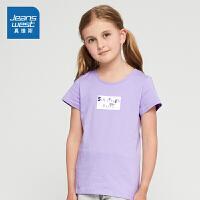 [每满400减150]真维斯女童 2018夏装新款全棉圆领印花短袖T恤