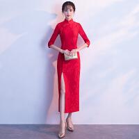 红色中式敬酒服新娘旗袍中长款改良春季2018新款中袖少女连衣裙女