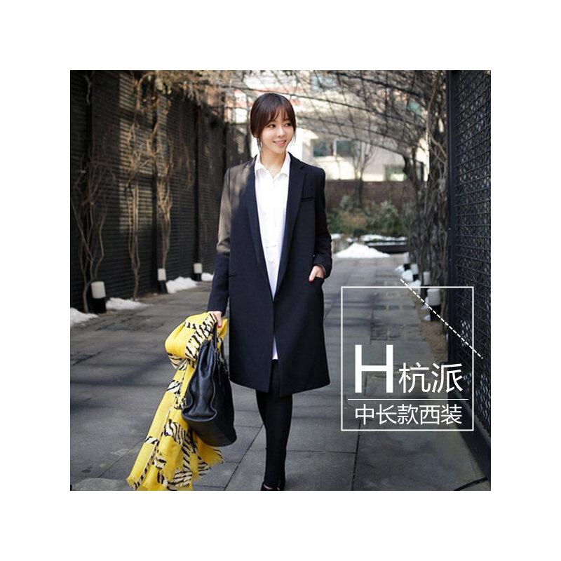 2018秋装韩版大码黑色西装领长袖中长款无扣宽松显瘦休闲西服外套
