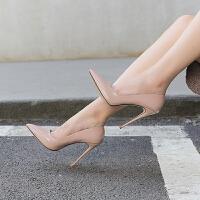 秋季高跟鞋细跟2018新款裸色时尚百搭鞋子女秋性感漆皮尖头单鞋女