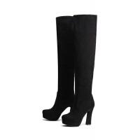 2018秋冬季女靴过膝长靴子女士跟弹力靴防水台粗跟套筒骑士靴 40(春秋 单绒款)