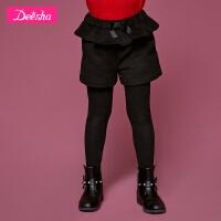 【限时秒杀:69】D笛莎童装女童短裤冬装新款中大童儿童腰头拼接荷松紧短裤