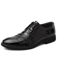 休闲皮鞋男韩版潮流真皮商务正装小皮鞋男士英伦特大码男鞋子冬季 黑色