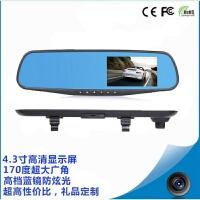 简单爱汽车行驶记录仪4.3寸后视镜1080P高清夜视停车监控行车记录仪 黑色