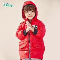 【2件3折到手价:170】迪士尼Disney童装 男童连帽羽绒外套冬季新品中长款厚实保暖羽绒服时尚上衣194S1187