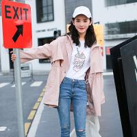 风衣女中长款韩版春季2018新款学生b长袖宽松学院风休闲外套