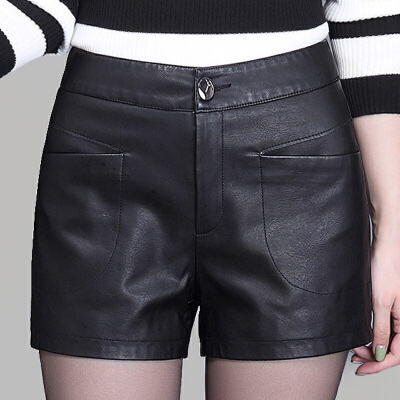 2017新款女装秋冬皮短裤外穿修身PU皮裤大码休闲显瘦打底皮靴裤潮