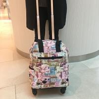 16寸印花小型手提拉杆包短途旅行登机袋万向轮行李箱折叠购物袋 小