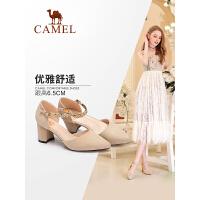 camel骆驼女鞋 2018夏季新款仙女鞋 百搭高跟单鞋一字扣带粗跟尖头鞋子