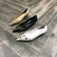 2018春夏新款女鞋牛皮尖头浅口低跟单鞋小跟鞋舒适百搭
