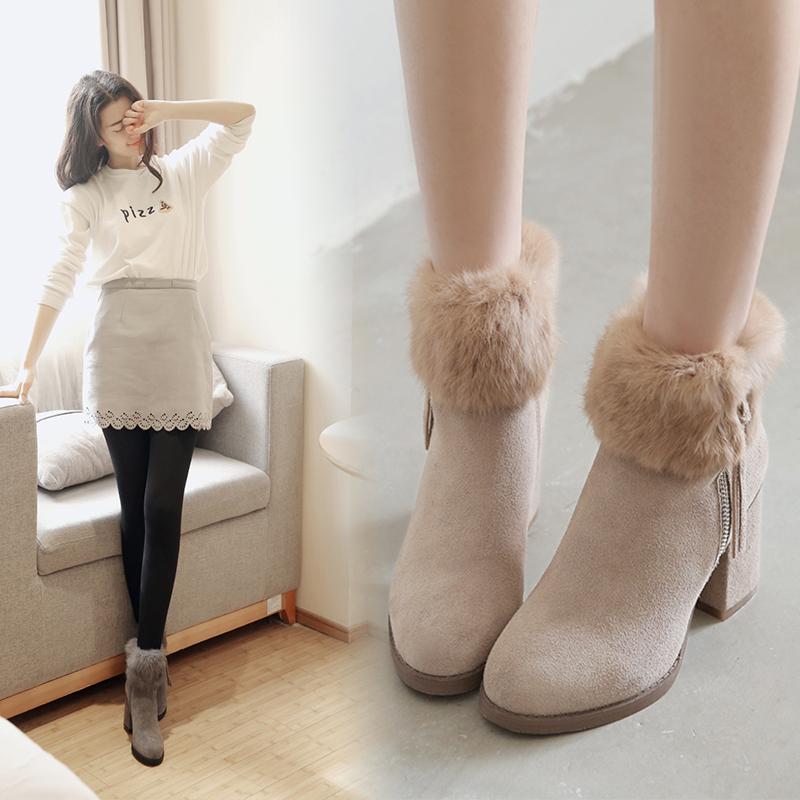雪地靴女短筒2018冬季新款兔毛高跟短靴外穿毛毛鞋粗跟保暖二棉鞋