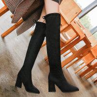 小码33码34过膝长靴女长筒靴子冬粗跟高跟韩版大码加绒高筒靴srr