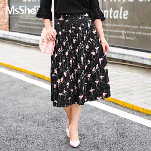 MsShe大码女装2017新款秋装胖mm甜美风印花百褶裙半身裙M1760007