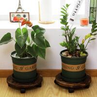 【年货节】ORZ 实木可移动花盆架带万向轮子 创意居家客厅阳台花盘托盘底座 大号格仔款2只装