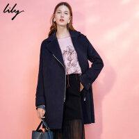 Lily春新款女装商务通勤OL深宝蓝拉链毛呢外套117420F1543