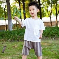 童装男童套装夏装新款儿童两件套夏季薄款短袖条纹裤帅气