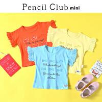 【3件2折价:23.8】铅笔俱乐部童装女童短袖2019夏装小童圆领T恤女宝宝上衣