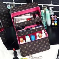 大容量韩国化妆包简约小号多功能可爱便携收纳品盒化妆箱手提 大号 黄色花