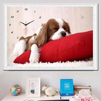 新款5D钻石画卡通动漫可爱动物小狗儿童卧室点贴钻十字绣钟表小幅 送机芯表针【满钻全部贴】魔方圆钻150x96厘米+