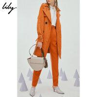 【25折到手价:199.75元】 Lily春新款女装灯芯绒系带风衣118340C1215