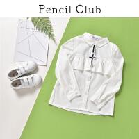 【3件2折:49.8】铅笔俱乐部童装2020春装新款女童长袖衬衫中大童翻领上衣儿童衬衫