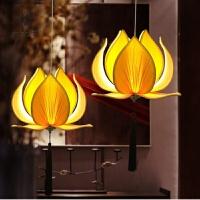 新中式禅意莲花吊灯仿古餐厅荷花灯创意茶楼古典灯笼布艺灯具