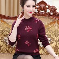 中年妈妈装毛衣女秋冬45岁中老年女装短款长袖加厚针织羊毛打底衫