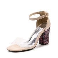 WARORWAR法国新品YGM-201夏季欧美粗跟女鞋潮流时尚潮鞋百搭潮牌凉鞋女