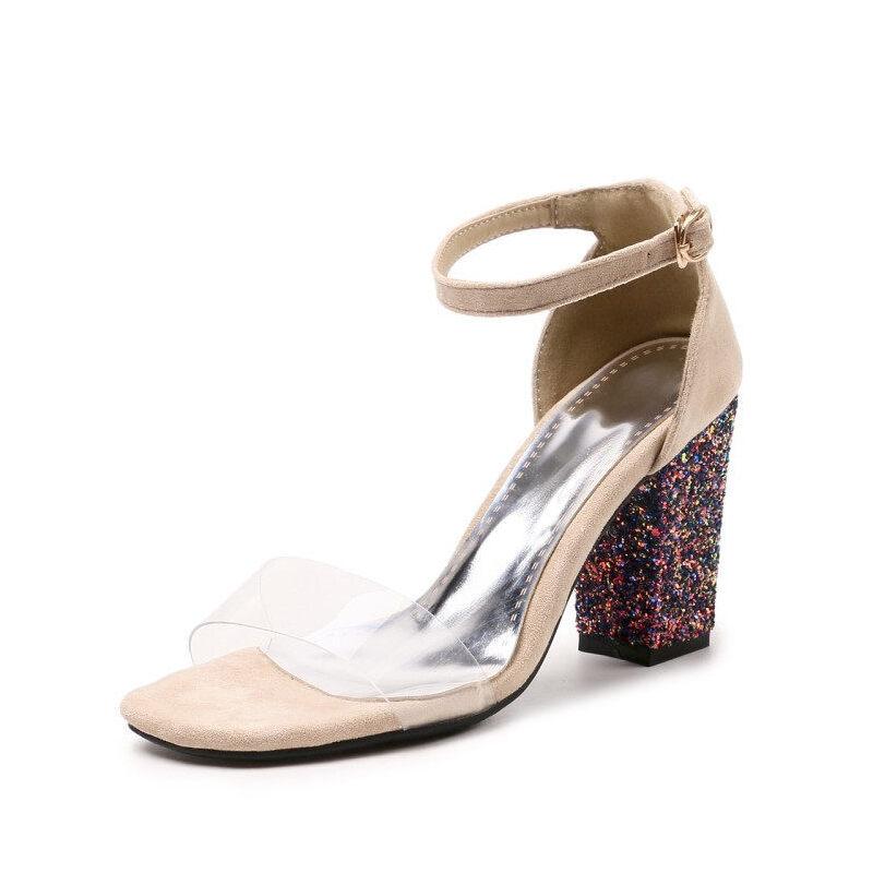 WARORWAR法国 2019新品YGM-201夏季欧美粗跟女鞋潮流时尚潮鞋百搭潮牌凉鞋女