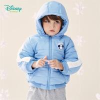 【2件3折到手价:89.4】迪士尼Disney童装 男童夹棉连帽外套冬季新品米奇印花棉服防风保暖儿童上衣194S119