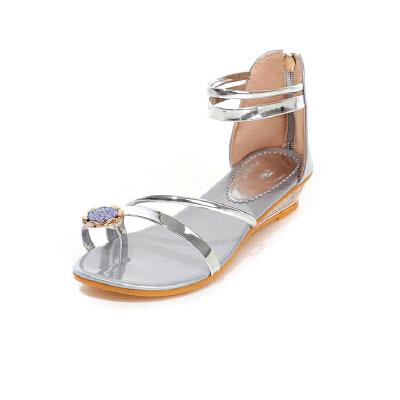 ELEISE美国艾蕾莎新品162-A-16韩版超纤皮坡跟水钻女士凉鞋