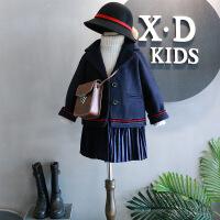 韩国冬装新品女童学院风好版型百褶拼接撞色设计毛呢大衣A4-A2
