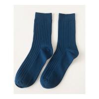 男袜子简约男士棉袜纯色竖条纹中筒袜百搭商务休闲运动袜 均码