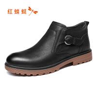 【红蜻蜓双十一提前购】红蜻蜓男鞋秋新款正品舒适高帮皮鞋子男士休闲鞋板鞋 断码清仓