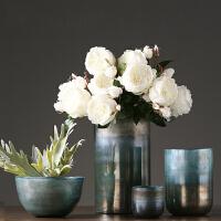 美式玻璃花瓶摆件 现代简约客厅餐桌仿真花插花瓶花艺样板间家居软装饰品