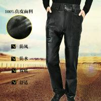 仿 皮裤男绵羊皮头层羊皮中老年直筒大码休闲裤子冬宽松加绒加厚 黑色