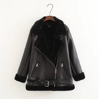 欧美潮流新品女士冬季加厚一体加绒棉衣中长款黑色外套 W2078