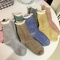 韩国秋冬甜美可爱糖果色保暖加厚针织堆堆袜中筒袜百搭女袜短袜子