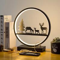 北欧台灯卧室床头灯创意小鹿灯客厅触摸调光夜灯简约现代结婚礼物