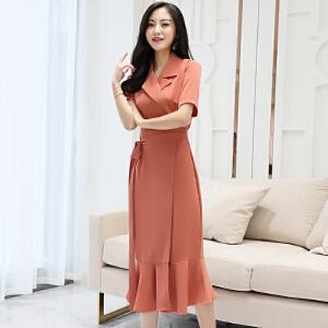 风轩衣度 2018年夏季连衣裙纯色优雅韩版修身显瘦都市西装领甜美 2133-8918