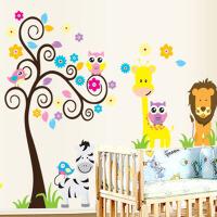 儿童房卧室卡通墙贴画长颈鹿量身高贴