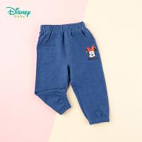 迪士尼Disney童装 女童长裤针织仿牛仔裤子春季新品迪斯尼宝宝舒适透气休闲裤