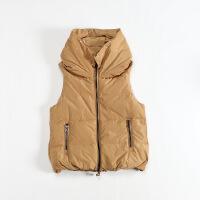 冬装女羽绒马夹 花苞领日系面包格加厚羽绒背心外套 4C