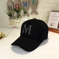帽子女韩版金丝网纱棒球帽水钻字母鸭舌帽潮流时尚透气遮阳帽 M字母 黑色 可调节