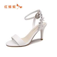 红蜻蜓女鞋夏季新款高跟凉鞋细跟优雅花边真皮一字带凉鞋