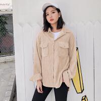 灯芯绒外套女时尚短款港味复古外套假两件衬衫韩版休闲春款