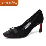 【领�幌碌チ⒓�120】红蜻蜓女鞋春新款正品时尚方头优雅宴会细高跟鞋女单鞋