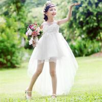 女童公主裙夏装蓬蓬白纱裙拖尾女孩露肩韩版夏季儿童连衣裙子