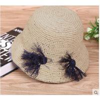 花朵帽子拉菲草帽时尚韩版遮阳帽出游沙滩防晒草帽大沿圆顶帽子女